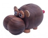 Wood Hippo Coin Bank Money Saving Box