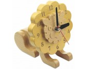 Wood Lion Desk Clock