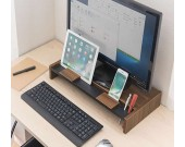 Wood&Metal Monitor Riser with Storage Organizer Office Computer Desk Tablet  Cellphone iPad  Stand