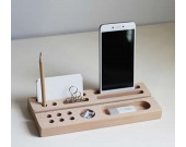 2pcs Wood Office Desk Organizer Set - Phone Stand / Pencil Holder / Business Card Holder