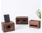 Black Walnut Wood Phone Sound Amplifier Trumpet Holder Amplifier Loudspeaker