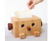 Wood Robot Tissue Box