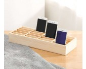 Wooden 20 Storage Compartments Multifunctional Storage Box for Cell Phones Holder Desk Supplies Organizer