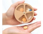 Wooden 4 Slots Portable Pill Box Jewelry Tins Storage Organizer