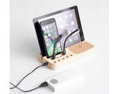Wooden 4 USB Port Charging Docking Station for Smartphones and Tablets