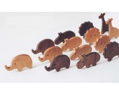 Wooden Animal Ornaments Elephant, Giraffe, Hippo, lion, 4 Pieces