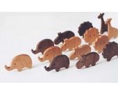 Wooden Animal Ornaments Elephant, Giraffe, Hippo, lion, 4 Pieces