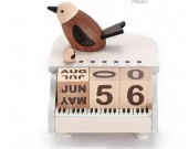 Wooden Bird Music Box Perpetual Calendar