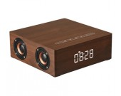 Wooden Bluetooth Alarm Clock Stereo Speaker