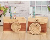 Wooden Camera Shaped Pen Holder