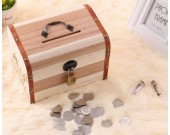 Wooden Coin Bank Money Saving Box