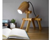 Wooden Cute Dog Desk Table Lamp