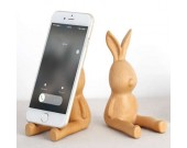 Wooden Cute Rabbit Cell Phone Stand Holder