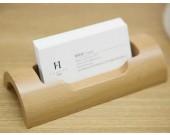 Wooden & Concrete Desk Business Card Holder Display Stand
