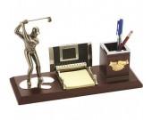 Wooden Desk Organizer Pen Pencil Holder With Golf Men Figurine Sculptures