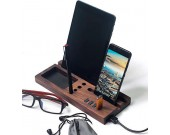 Wood Office Desk Organizer with iPad Stand, Phone Holder  With 4 Port USB 3.0 Hub