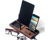 Wooden Desktop Organizer Computer Desk Accessories With 4 Port USB 3.0 Hub