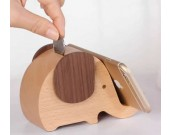 Wooden Elephant Shaped Piggy Bank Cell Phone Stand
