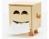Wooden Smiley Face Tissue Box,Natural wood color