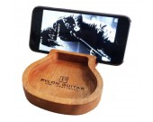 Wooden Guitar Shaped Cell Phone Stand Holder With Storage Tray