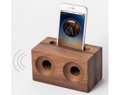 Black Walnut Wooden Speaker Sound Amplifier Stand Dock for SmartPhone
