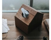 Black Walnut Wooden House Design Tissue Box