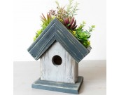 Wooden House Flower Pot With Artificial Succulents