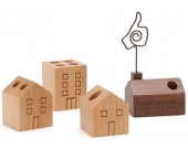 Wooden House shaped Pen Pencil Holder Stand,4 Piece Set