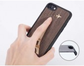 Wooden Back Shell Cover With Metal Silicone Bumper Frame Case for iPhone X/8/8Plus/7/7 Plus