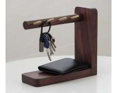 Wooden & Brass  Key Rack Holder  Phone Essentials Shelf