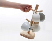 Wooden Mug Tree Rack Stand with 6 Storage Hooks