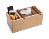 Wooden Multi-Function Tissue Box Cover Desktop Remote Control Holder Storage Box