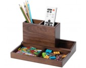 Wooden Multi-Functional Desk Organizer Box & TV Remote Control Holder/Pen Pencil Holder
