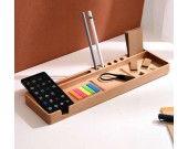 Wooden Multifunctional Desktop Card/Pen/Pencil/Mobile Phone Office Supplies Holder Display Organizer