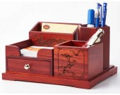 Wooden Struction Multi-function Desk Stationery Organizer Storage Box