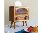 Wooden Retro Radio Tissue Box
