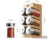 Wooden Spice Rack Stand holder with 6 bottles