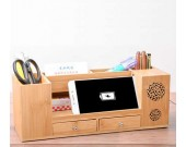 Wooden Struction Multi-function Desk Stationery Organizer Storage Box with Small Drawers