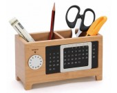 Wooden Struction Multi-function Desk Stationery Organizer Storage Box With Perpetual Calendar