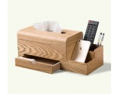 Wooden Tissue Box Cover Holder and Remote Control Organizer with Storage Drawer