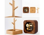 Wooden Tree Music Box Bracelet Necklace Jewelry Organizer Hooks Rack Stand