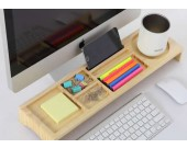 Wooden Desktop Organizer Over the Keyboard