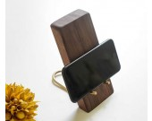 Black Walnut Brass Wood Phone Holder