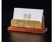 Classical Golden Brass Redwood Combination Office Business Card Holder
