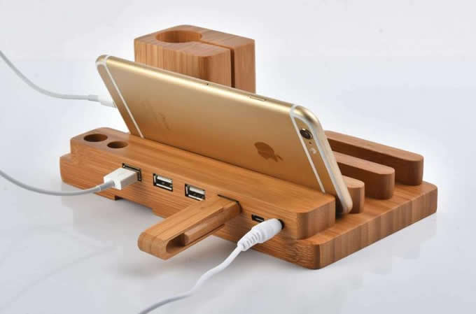 Wooden Charging Dock ~ Bamboo wood charging stand bracket docking station for