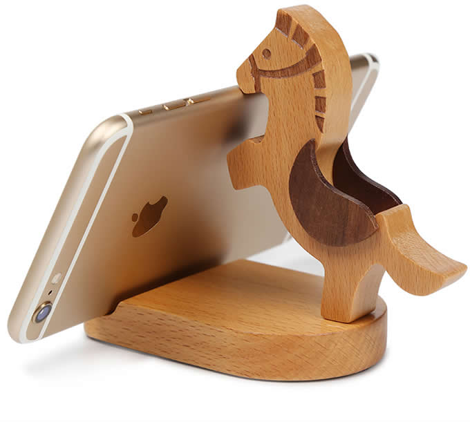 Wooden Horse Multi-function Ipad/Cell Phone Stand