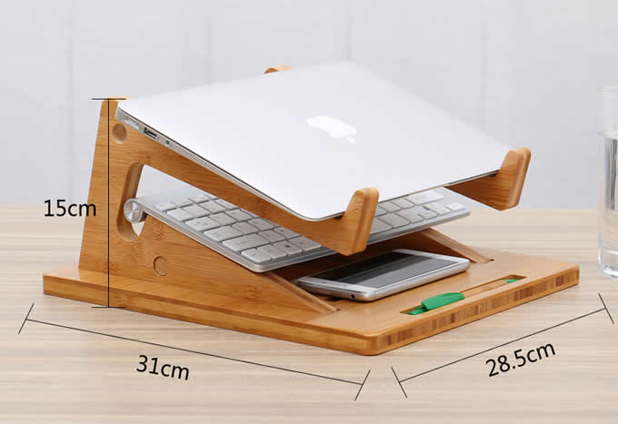 Folding Bamboo Desktop Stand With Base For Tablet Laptop