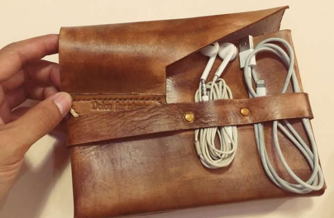 Handmade Genuine Leather Sleeve Bag Case Travel Cord