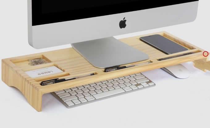 Wooden Unibody Monitor Imac Stand Desk Organizer Feelgift