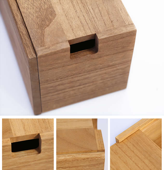 Bamboo Cable Management Box Organizer to Hide Wires, Surge Protector & Power Strips